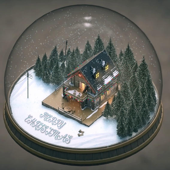 Christmas House Snow Globe