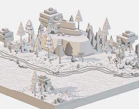Isometric style grey mountain landscape river 3D model