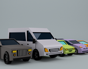 low-poly Car pack Low-poly 3D model