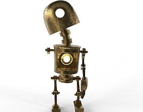 3D model low-poly Tin Gold Robot