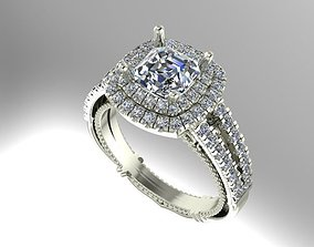 Double halo engagement ring 3D printable model