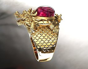 gold Dragon Ring 3D