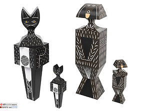vitra Wooden Dolls Cats Dogs 3D model