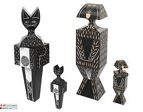 vitra Wooden Dolls Cats Dogs 3D model
