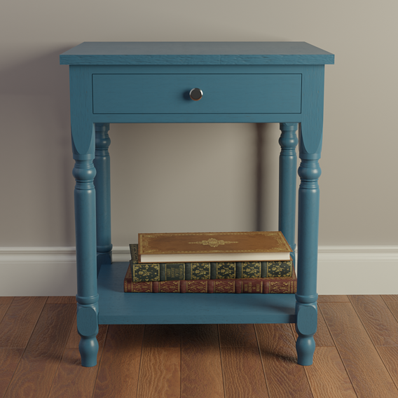 Fine Blue Wood Nightstand