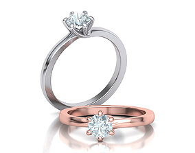 Six Twisted prongs Engagement ring 3dmodel version2