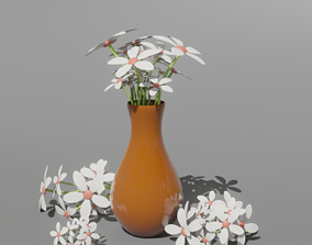 3D asset Vase with White Flowers