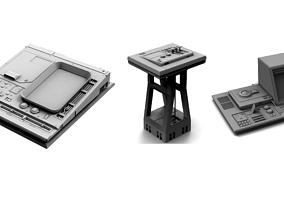 3D model Sci-fi Computer Panel Pack KitBash