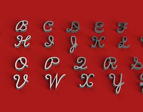 SCRIPTS font uppercase and lowercase 3D letters STL file