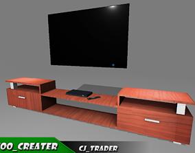Modern tv cabinet furniture 3D model game-ready