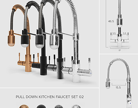 Pull-Down Kitchen Faucet Set 02 3D