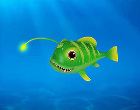 3D model Cartoon Lantern Fish Rigged Animated