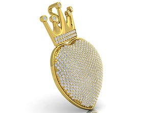 3D print model Heart With Crown Pendent
