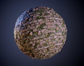 3D Brick Wall Red Grunge Vines Seamless PBR Texture