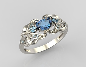 Design ring with sapphires and diamonds 3D print model