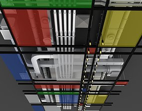 Pipes industrial ceiling 3D model bulb