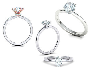 Solitaire rings Collection with discount 3D model