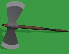 3D asset game-ready low poly battle axe