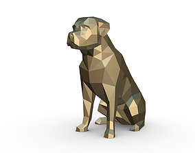 Rottweiler dog low poly 3D printable model