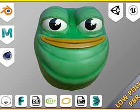 Pepe the frog head 3D asset game-ready