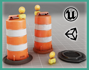 MG - AAA - Traffic Drum Cone - CLEAN-DIRTY - VR 3D asset 1