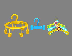 Cartoon clothes hangers - clips 3D asset