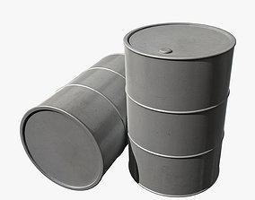 3D asset Barrel with silver paint
