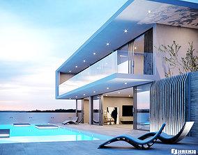 3D Corona C4D Scene files - Modern Minimalist House