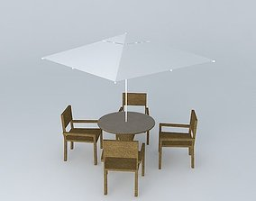Table with chairs and ombrelone 3D