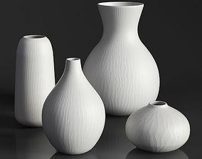 RH MATTE WHITE GLASS VASE COLLECTION Set-01 3D model