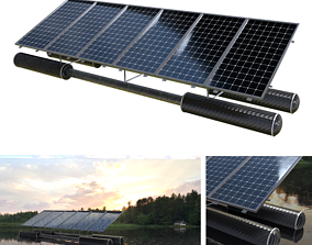 floating pv solar panel array 3D asset