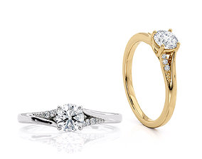 Jewelry Engagement ring 05ct central 3D print model 3