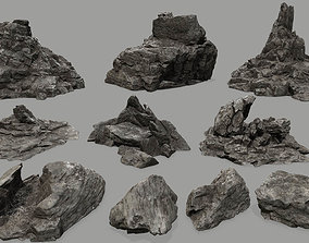 rock set 3D model game-ready