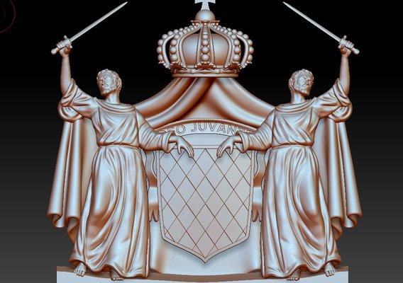 Coat of arms of Monaco. Sculpting