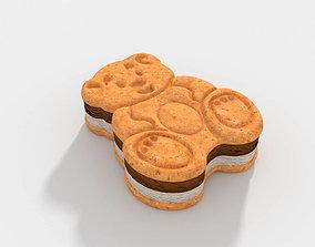 Teddy Bear Sandwich Ice Cream 3D