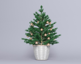 Fir Christmas small tree in basket 3D model