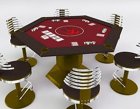 3D Hexagon Poker Table with 6 Chairs