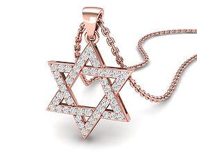 Diamond pendant Star of David necklace 24mm 3dmodel