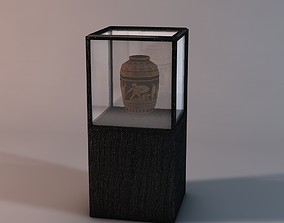 Display case with vase 3D asset