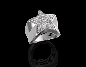 Star ring with diamonds 3D printable model