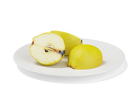 3D model Sliced Quinces on White Plate