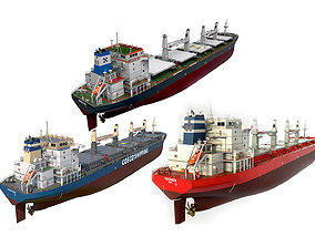Pack Bulk carrier ships 3D