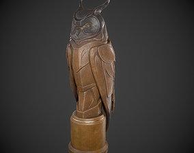 Owl Wood Statue 3D model