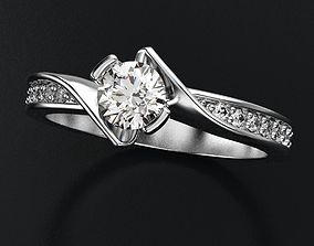 3D print model Interesting stylish engagement ring with 1