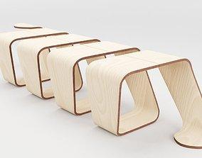 Designer Wooden Bench-Spiral 3D asset