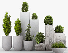3D model Concrete pot plant set