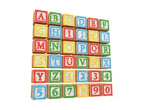 Old Alphabet Blocks 3D model