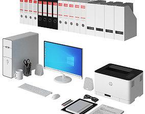 Office white PC set 3D model