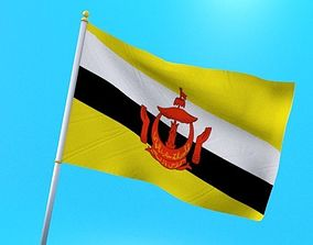architectural 3D Brunei flag animated low poly