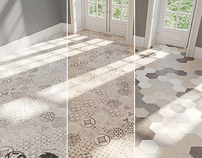EQUIPE Hexatile Cement Garden Grey 3D